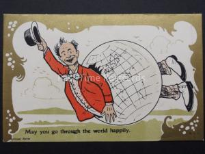 Comic Postkarte: May You Go durch die Welt Happily c1908 M & L Kunst