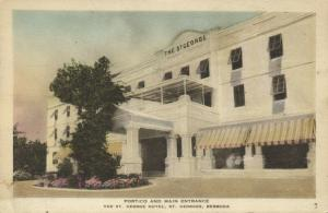 bermuda, St. GEORGES, St. George Hotel, Portico Main Entrance 1930s Hand-Colored