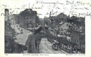 Cooper Square, NY , New York, USA Train Railroad Station Depot 1906 writing o...