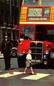 Vintage London Postcard, Policeman on Point Duty, England, UK, Travel, Bus 85X