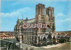 Modern Postcard Reims Marne La Cathedrale Overview