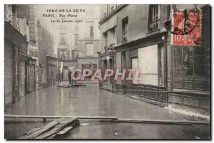 Crue of the Seine Paris Old Postcard Street Mazet January 30, 1910