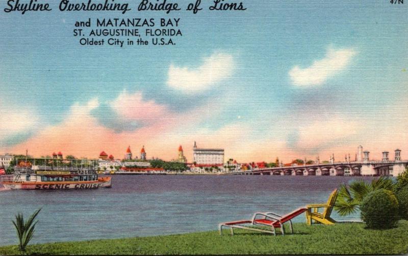 Florida St Augustine Skyline Overlooking Bridge Of Lions and Matanzas Bay