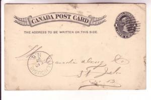 Victoria Postal Stationery Card, Dalhousie NB 1897 Cancel, Almanac Order