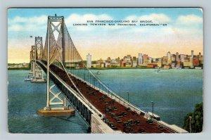 San Francisco CA, San Francisco-Oakland Bay Bridge, California Linen Postcard