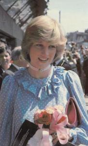 Princess Diana Receives Flowers Opening Community Centre Deptford Postcard