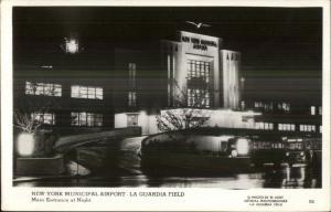 Queens New York City La Guardia Airport at Night Real Photo Postcard