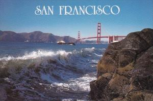 California San Francisco A Majestic Wave Crests On The Rocky Shoreline With T...