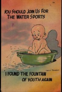 Walt Munson Comic Peeing Fountain of Youth Water Sports Vintage Postcard B01