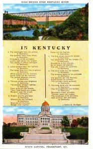 Kentucky Frankfort State Capitol and High Bridge Over Kentucky River