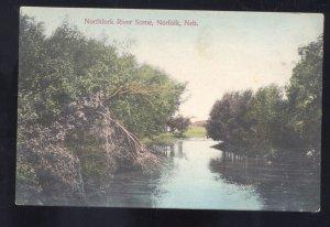 NORFOLK NEBRASKA NORTHFORK RIVER SCENE VINTAGE POSTCARD HALLAM NEBR. RPO