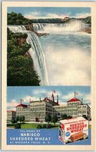 1940s Niagara Falls NY Linen Adv. Postcard Home of NABISCO Shredded Wheat