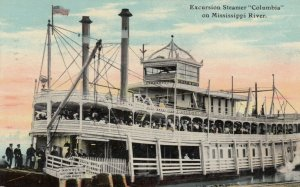 Excursion Steamer COLUMBIA on Mississippi River, PU-1911