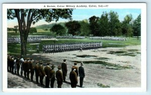 CULVER, Indiana IN  Cadets Review CULVER MILITARY ACADEMY ca 1920s  Postcard