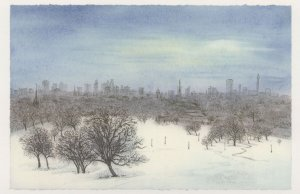 London Eye from Primrose Hill at Winter Painting Postcard