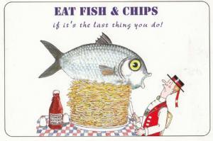 Eat British Fish & Chips Satirical Tourist Shop Comic Humour Postcard