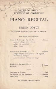 Eileen Joyce Piano Recital Hand Signed Classical Theatre Programme Flyer