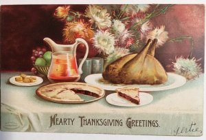 Hearty Thanksgiving Greetings Postcard 1907 Turkey Dinner Clapsaddle
