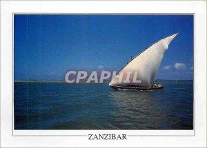 Postcard Modern Fishing Boat at sea Zanzibar Ngalawa