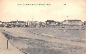York Beach Maine~Waterfront Hotels~Bathing Beach Cove~1930s Sepia Postcard