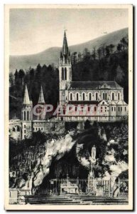 Old Postcard Lourdes Cave and Basilica