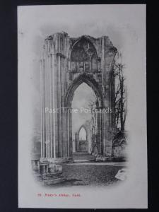 Yorkshire ST MARYS ABBEY (2) c1904 protective tissue attached