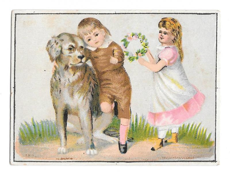 Victorian Trade Card T T Haydock Carriage Co Buggies Albany NY Girl Boy Dog