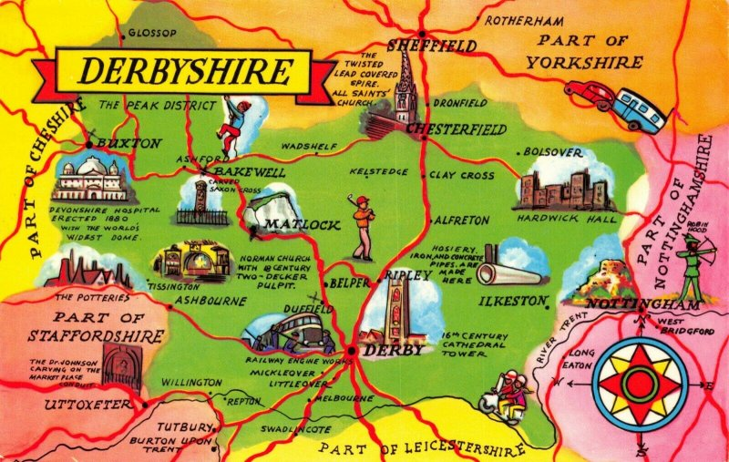 Map Postcard of DERBYSHIRE, Derby, Matlock, Buxton, Chesterfield, Bakewell AU1