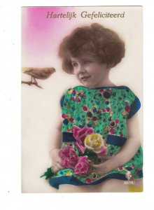 HI1031 ART DECO LITTLE GIRL  TALKING TO A BIRD  RPPC HAND. COL