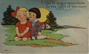 I like to sing a spoon-tune in the light of the moon. Boy & Girl courting