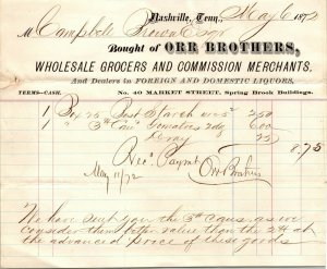 Orr Brothers Wholesale Grocers Dealers Main Street Nashville TN Invoice 1872