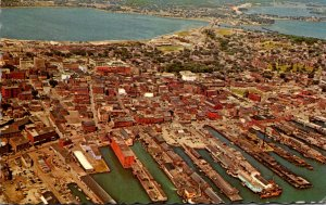 Maine Portland Aerial View Showing Harbor