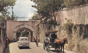 NASSAU, Bahamas; Gregory Arch, Southern Entrance to Old Nassau, Horsedrawn ca...