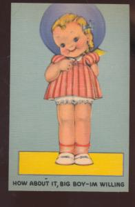HOW ABOUT IT BIG BOY I AM WILLING CUTE GIRL VINTAGE COMIC POSTCARD DOLL