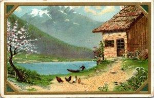 Art Postcard Vintage - FARM CABIN - Lake