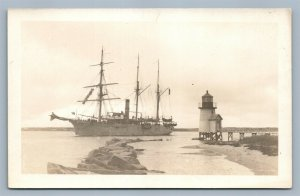 LIGHTHOUSE & SAIL SHIP ANTIQUE REAL PHOTO POSTCARD RPPC