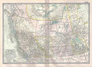 VINTAGE MAP Manitoba & British Columbia c1897 from Century Atlas