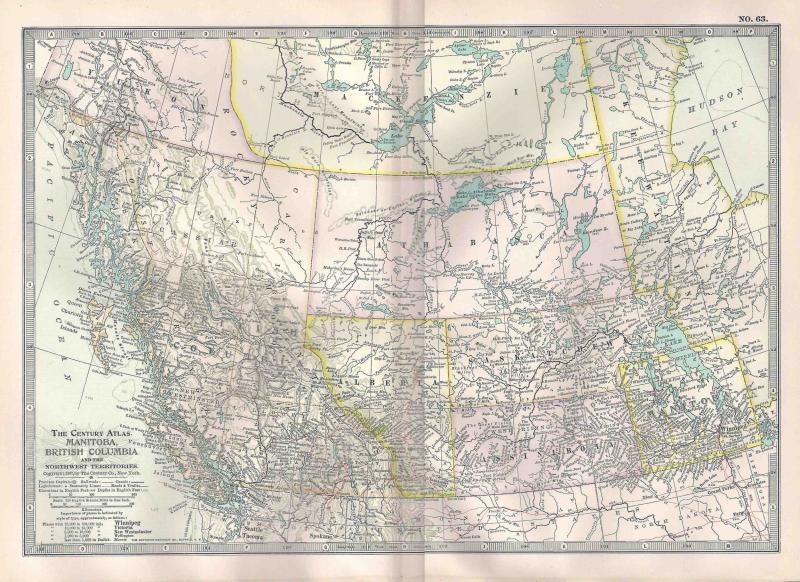 VINTAGE MAP Manitoba & British Columbia c1897 from Century Atlas
