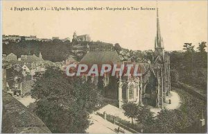 Old Postcard Fougeres (I and V) The Church of St. Sulpice North Coast View fr...