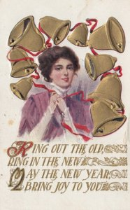 PU-1911; Ring Out The Old, Ring In The New. May The New Year, Bring Joy To Y...