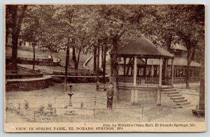El Dorado Springs MO~Spring Park~Man by Fountain~Gazebo~Willetts China Hall~1910