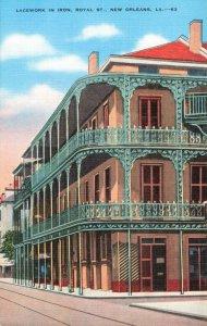 Postcard Lacework in Iron Royal Street New Orleans Louisiana