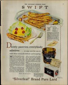 1927 Swift Silverleaf Brand Pure Lard Fries Salad Vintage Print Ad 3919