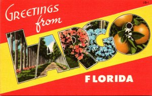 Florida Greetings From Largo Large Letter Linen