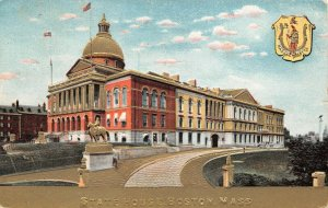 LPS11 Boston Massachusetts State House Building State Seal Postcard