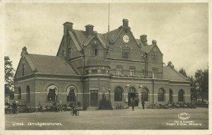 sweden, UMEÅ, Järnvägsstationen, Railway Station (1937) RPPC Postcard