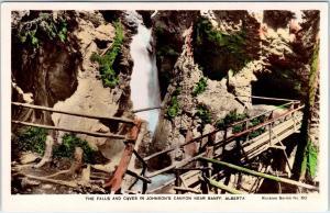 RPPC BANFF, Alberta, Canada   FALLS & CAVES in JOHNSON'S CANYON  c1930s Postcard