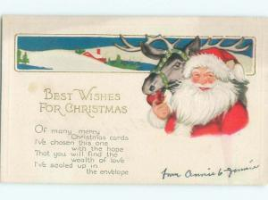 Pre-Linen Christmas SANTA CLAUS WITH HIS REINDEER AB4602