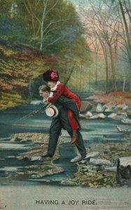 Vintage Postcard 1910 Having a Joy Ride Man and Woman Crossing Stream Love