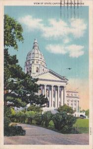 Kansas Topeka View Of State Capitol 1940 Curteich